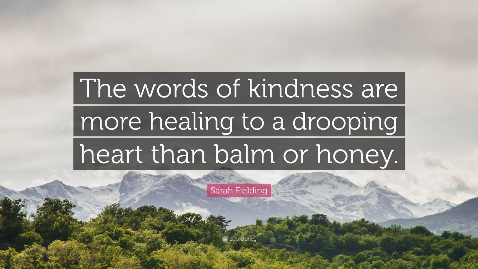 "Sarah Fielding Quote: ""The words of kindness are more healing to a drooping heart than balm or honey."""