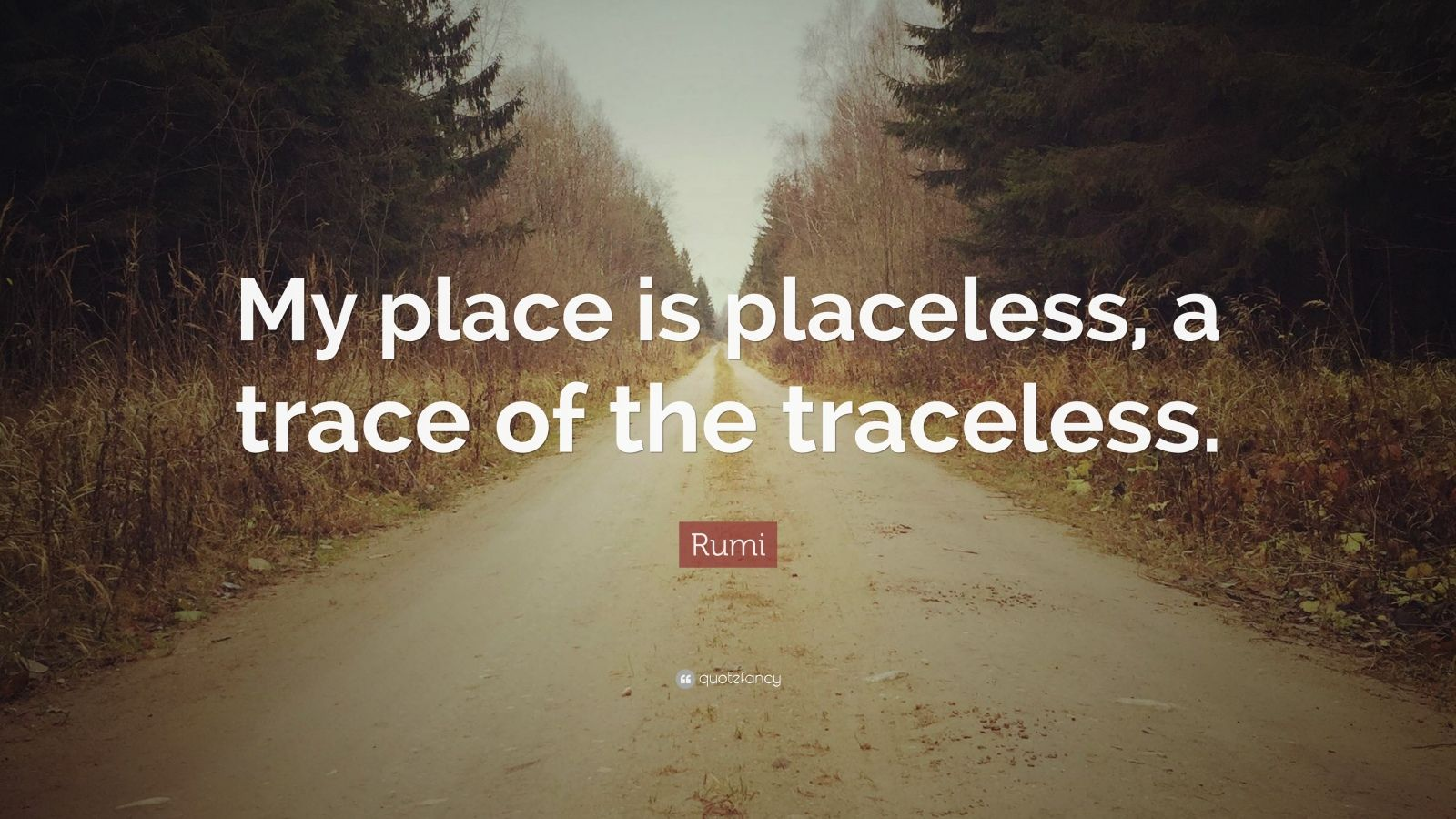 """Rumi Quote: """"My place is placeless, a trace of the traceless."""""""