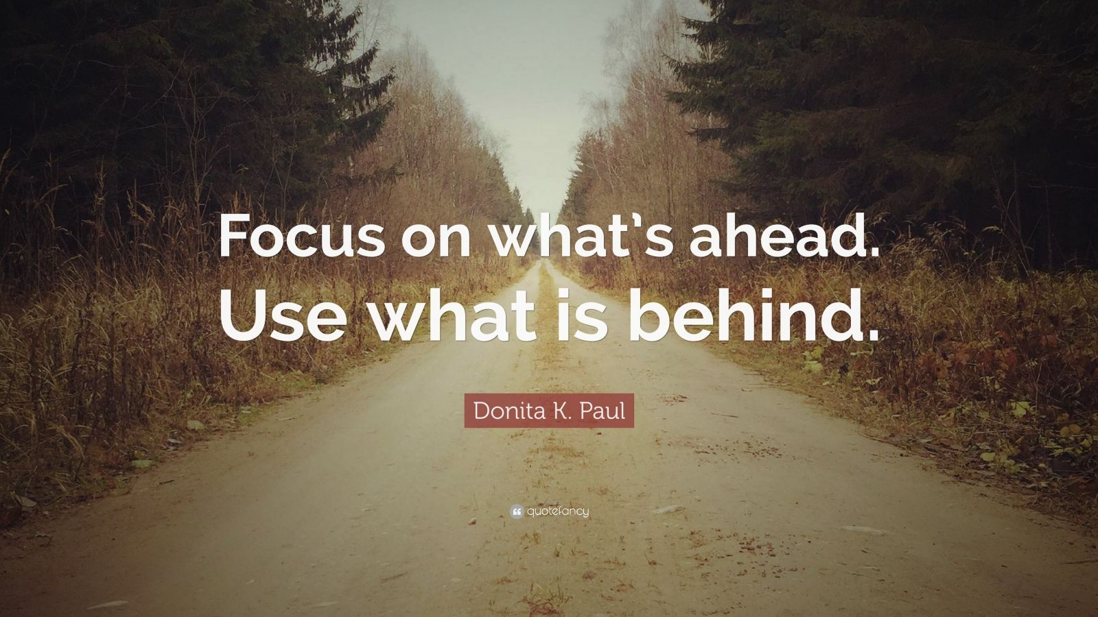 "Donita K. Paul Quote: ""Focus on what's ahead. Use what is behind."""