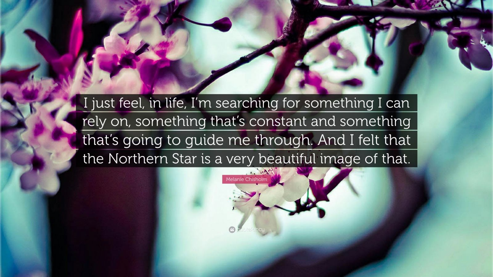"Melanie Chisholm Quote: ""I just feel, in life, I'm searching for something I can rely on, something that's constant and something that's going to guide me through. And I felt that the Northern Star is a very beautiful image of that."""