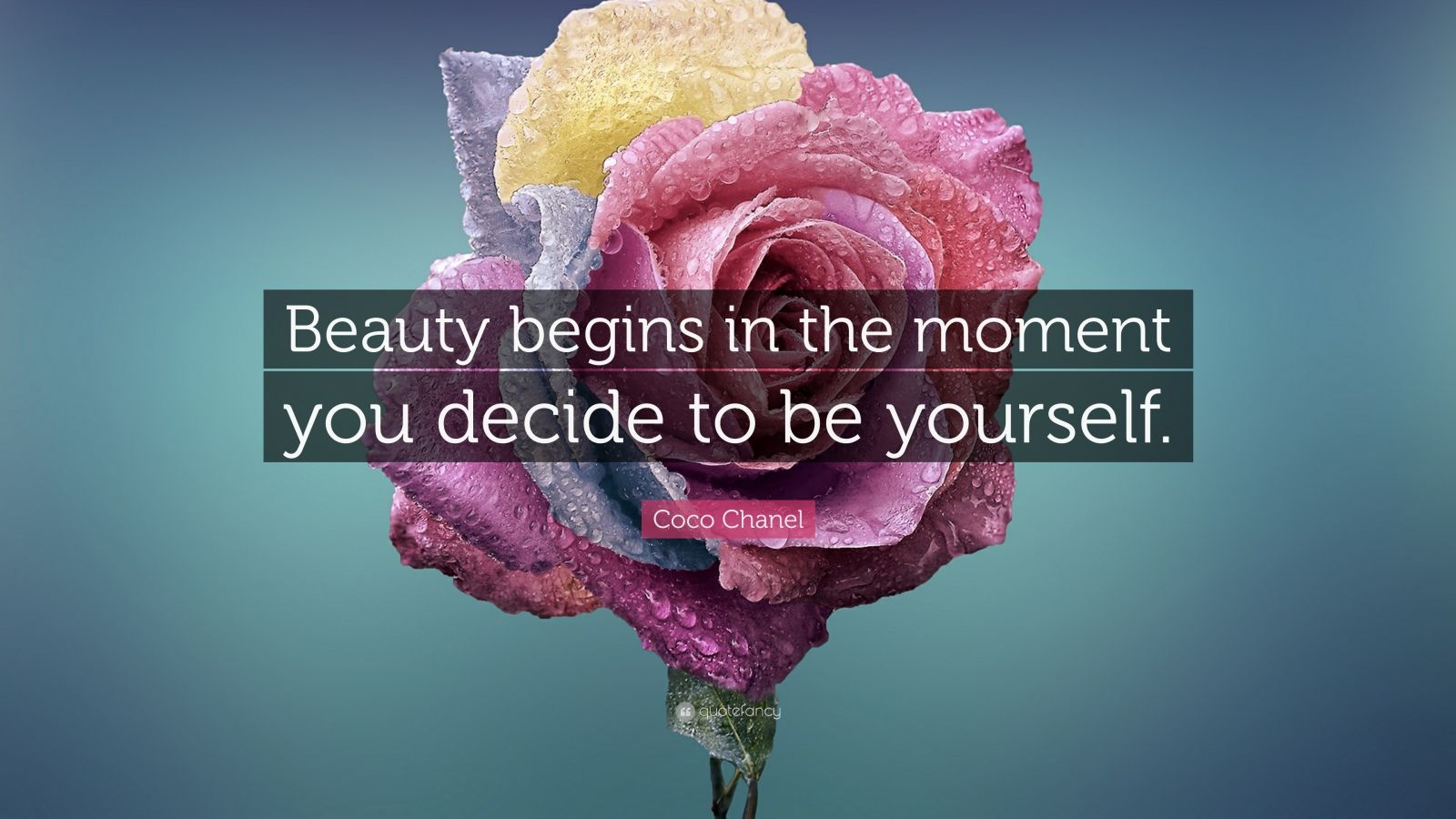 """Coco Chanel Quote: """"Beauty begins in the moment you decide to be yourself."""""""