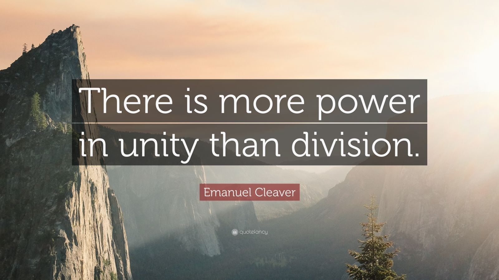 "Emanuel Cleaver Quote: ""There is more power in unity than division."""