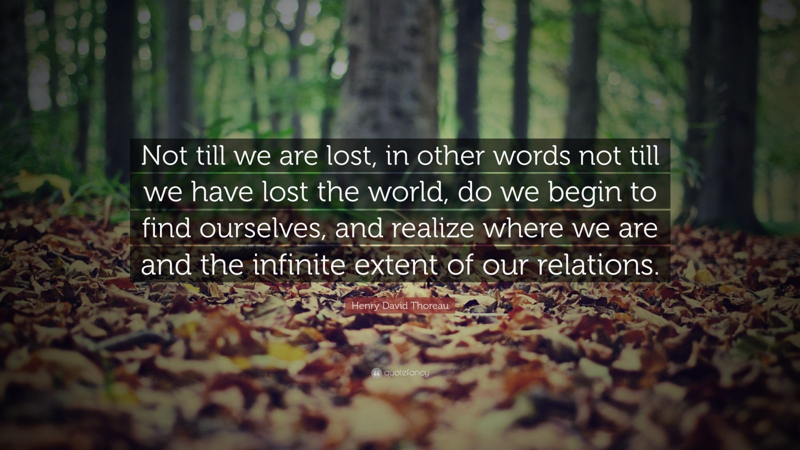 """Henry David Thoreau Quote: """"Not till we are lost, in other words not till we have lost the world, do we begin to find ourselves, and realize where we are and the infinite extent of our relations."""""""
