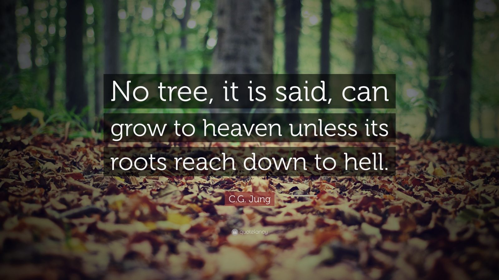 """C.G. Jung Quote: """"No tree, it is said, can grow to heaven unless its roots reach down to hell."""""""