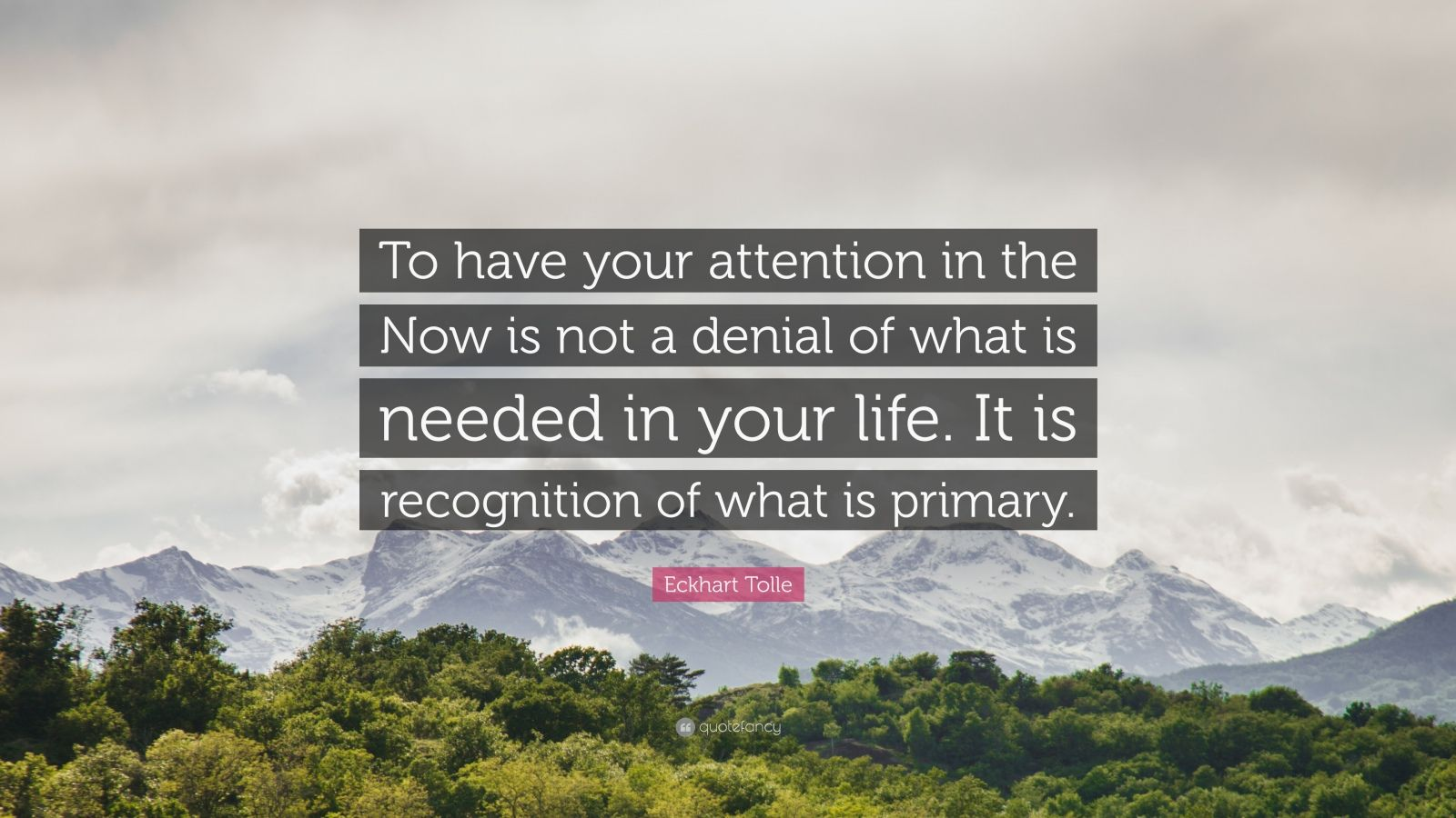 "Eckhart Tolle Quote: ""To have your attention in the Now is not a denial of what is needed in your life. It is recognition of what is primary."""