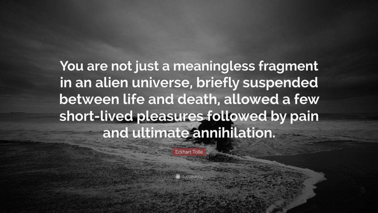 """Eckhart Tolle Quote: """"You are not just a meaningless fragment in an alien universe, briefly suspended between life and death, allowed a few short-lived pleasures followed by pain and ultimate annihilation."""""""