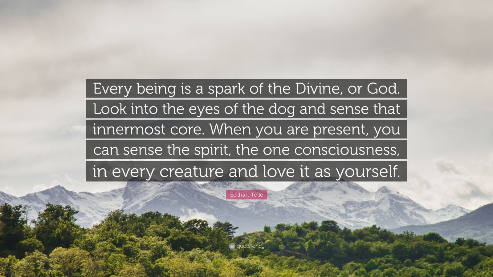 "Eckhart Tolle Quote: ""Every being is a spark of the Divine, or God. Look into the eyes of the dog and sense that innermost core. When you are present, you can sense the spirit, the one consciousness, in every creature and love it as yourself."""