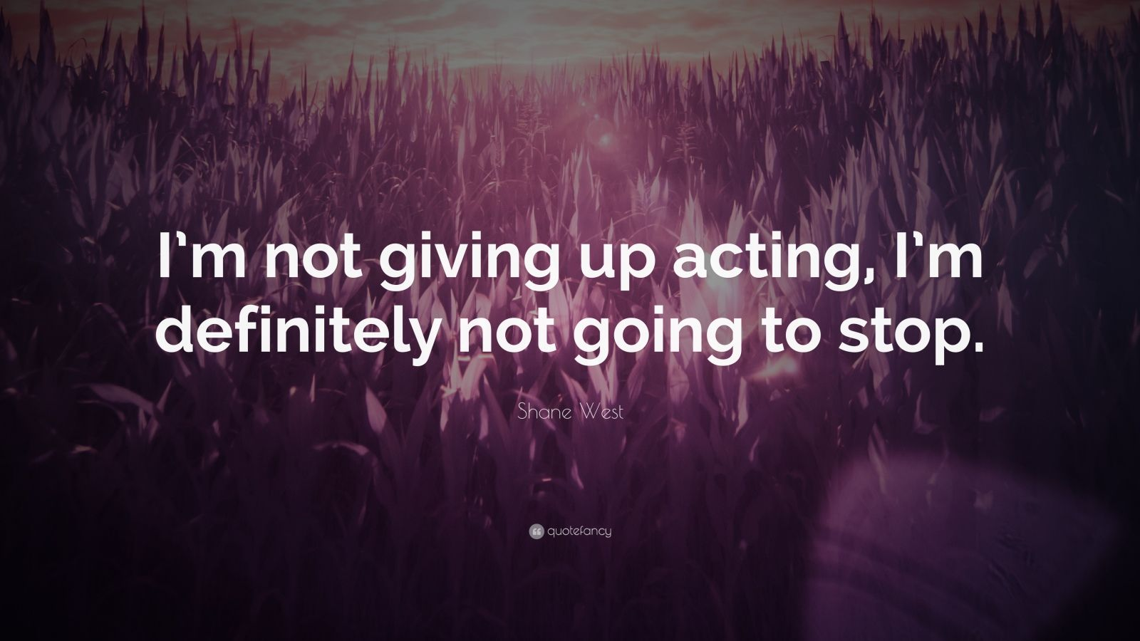 "Shane West Quote: ""I'm not giving up acting, I'm definitely not going to stop."""