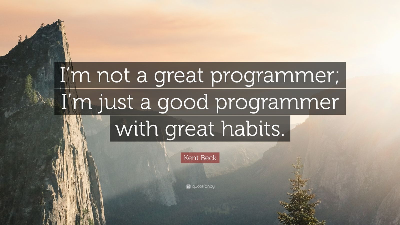 "Kent Beck Quote: ""I'm not a great programmer; I'm just a good programmer with great habits."""