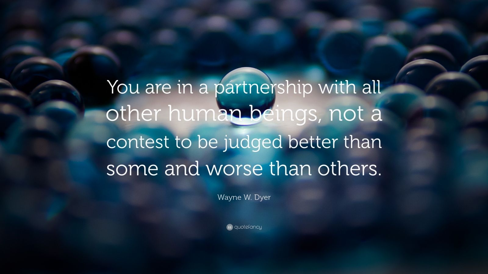 """Wayne W. Dyer Quote: """"You are in a partnership with all other human beings, not a contest to be judged better than some and worse than others."""""""