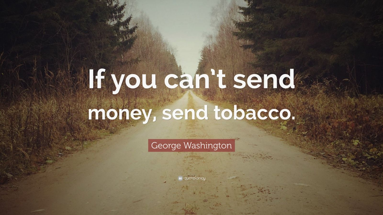 "George Washington Quote: ""If you can't send money, send tobacco."""