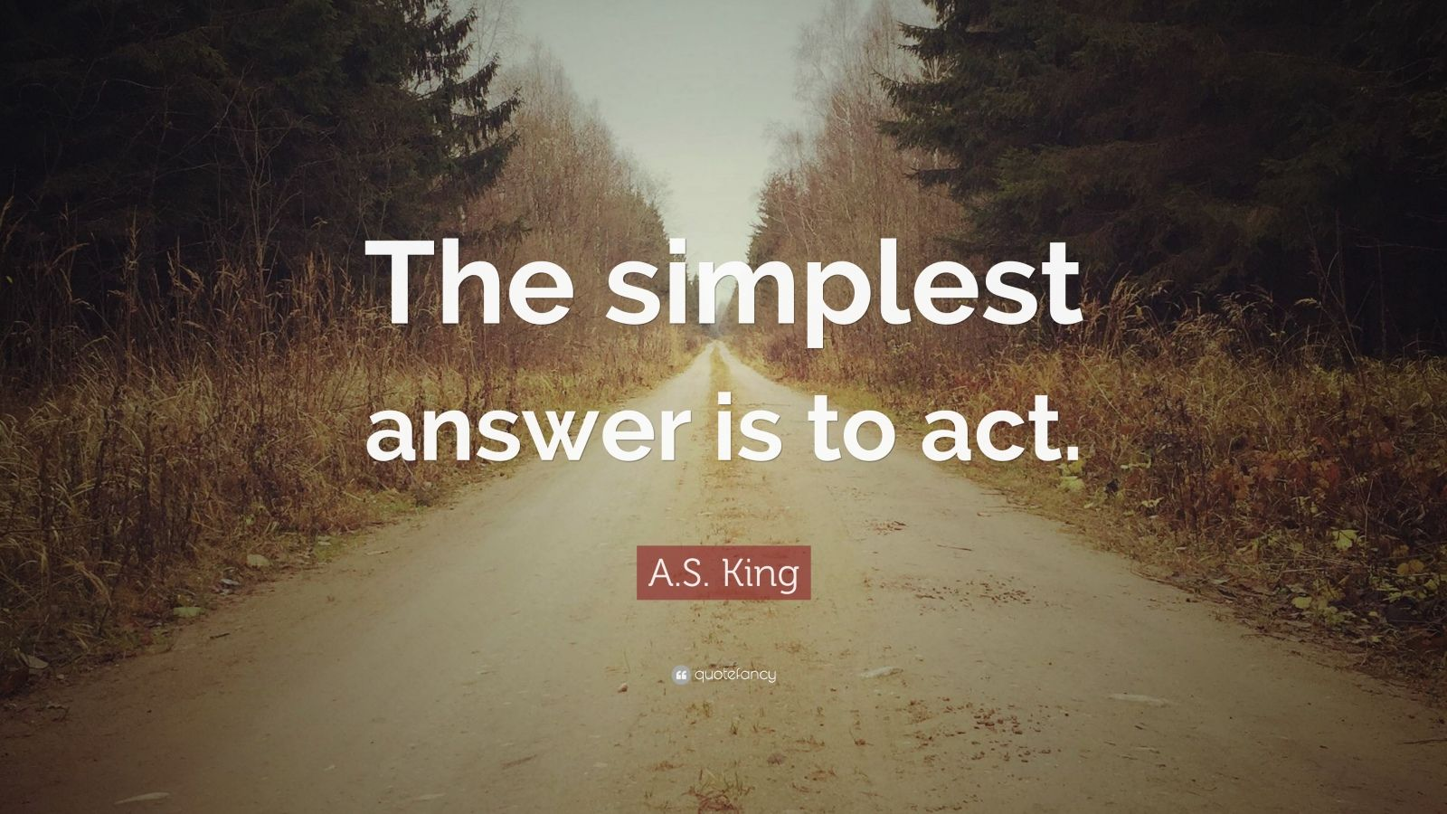 """A.S. King Quote: """"The simplest answer is to act."""""""