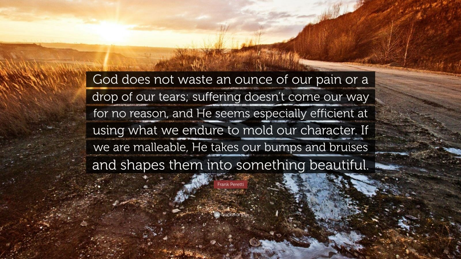 "Frank Peretti Quote: ""God does not waste an ounce of our pain or a drop of our tears; suffering doesn't come our way for no reason, and He seems especially efficient at using what we endure to mold our character. If we are malleable, He takes our bumps and bruises and shapes them into something beautiful."""
