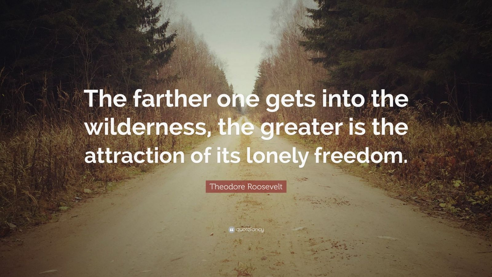 "Theodore Roosevelt Quote: ""The farther one gets into the wilderness, the greater is the attraction of its lonely freedom."""