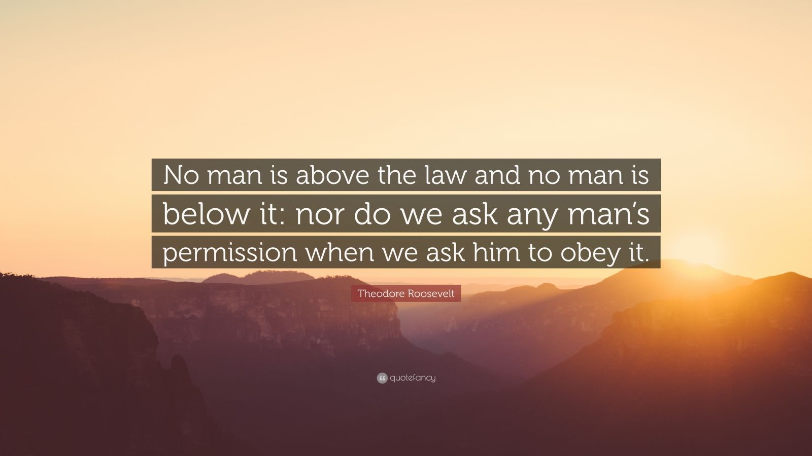 """Theodore Roosevelt Quote: """"No man is above the law and no man is below it: nor do we ask any man's permission when we ask him to obey it."""""""