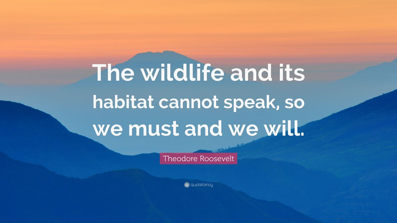 "Theodore Roosevelt Quote: ""The wildlife and its habitat cannot speak, so we must and we will."""