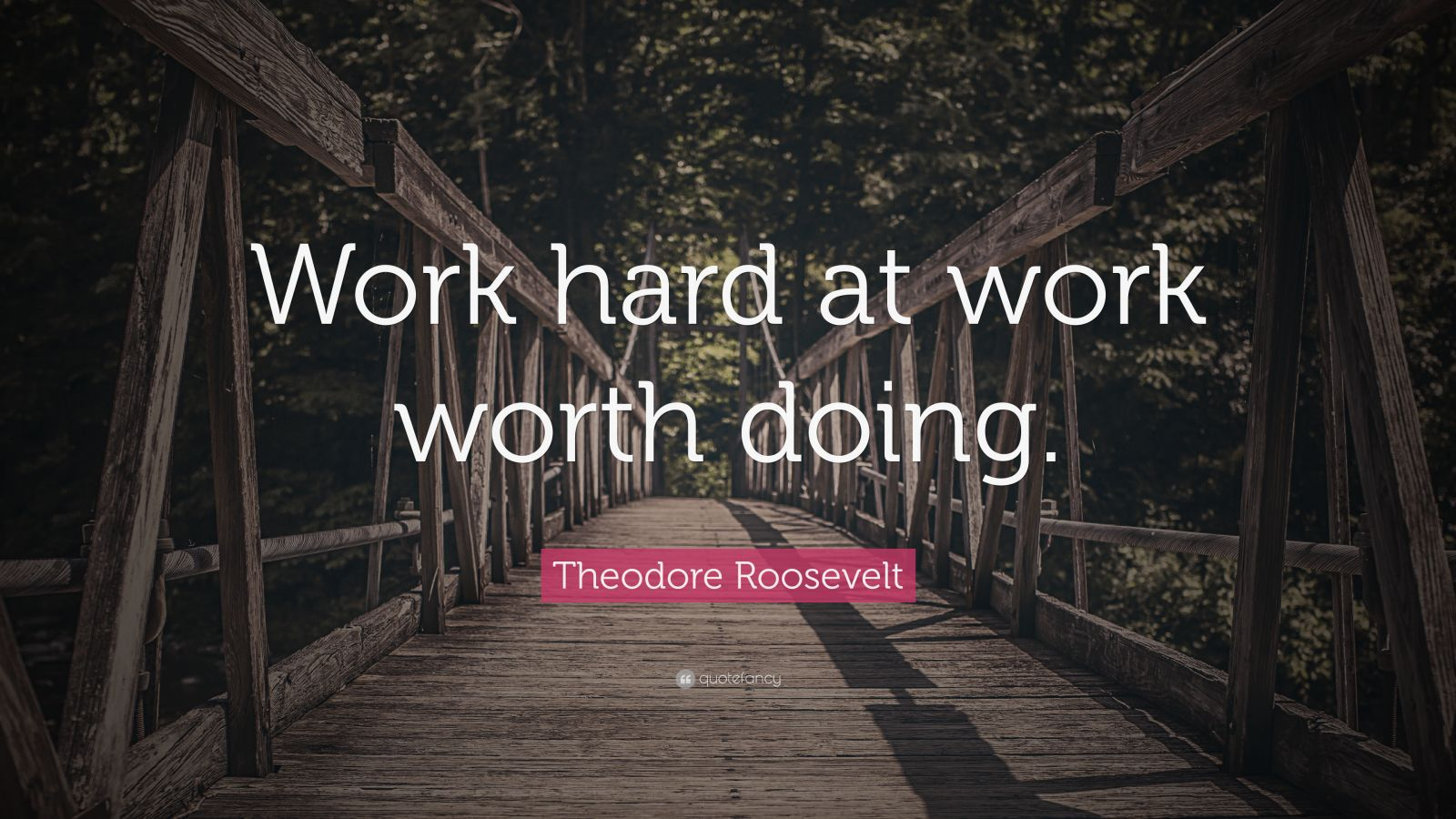 "Theodore Roosevelt Quote: ""Work hard at work worth doing."""