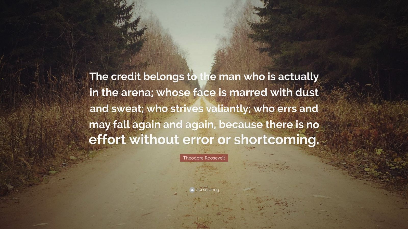 "Theodore Roosevelt Quote: ""The credit belongs to the man who is actually in the arena; whose face is marred with dust and sweat; who strives valiantly; who errs and may fall again and again, because there is no effort without error or shortcoming."""