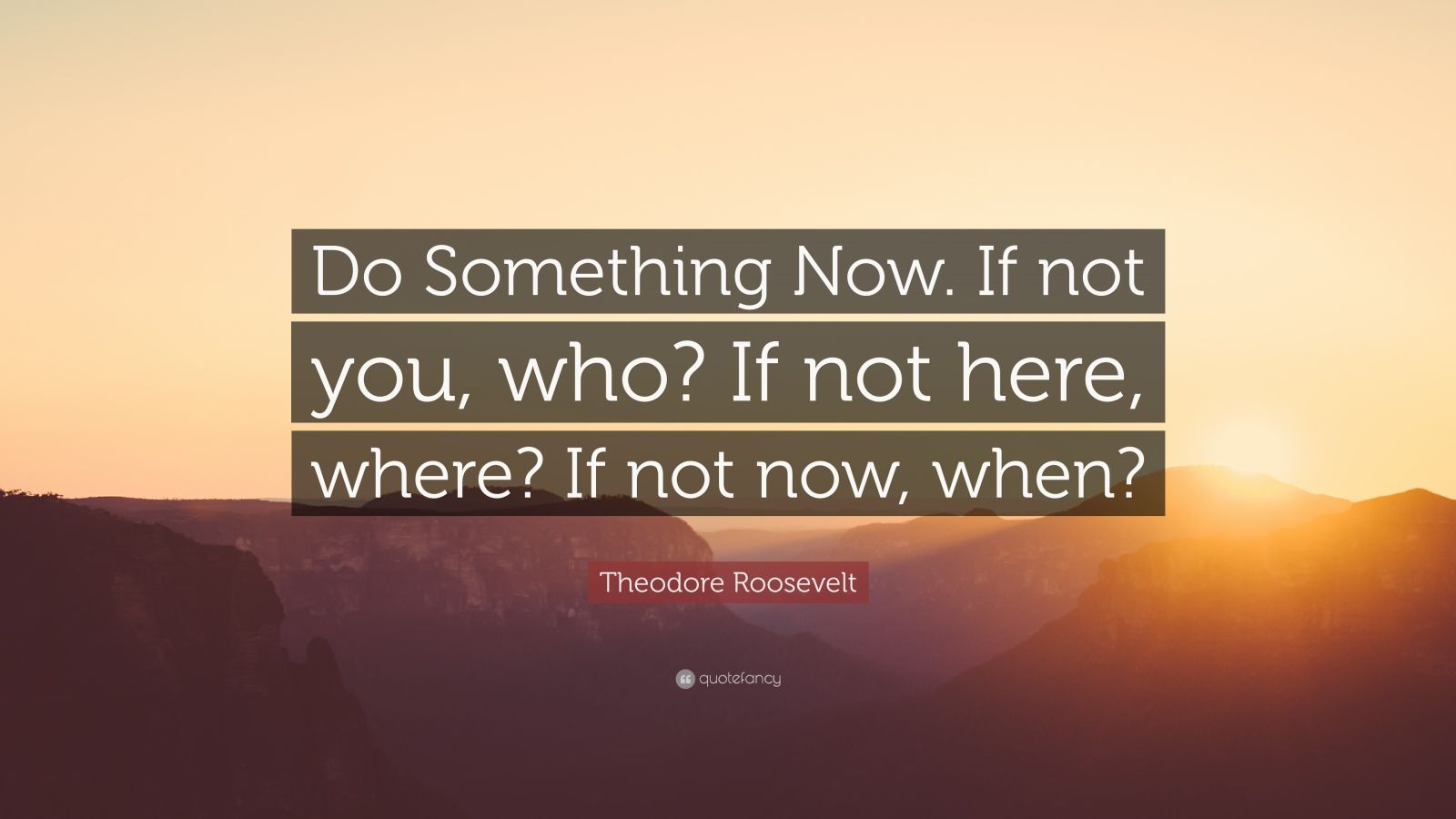 """Theodore Roosevelt Quote: """"Do Something Now. If not you, who? If not here, where? If not now, when?"""""""
