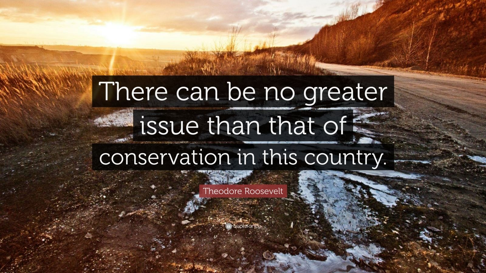 "Theodore Roosevelt Quote: ""There can be no greater issue than that of conservation in this country."""