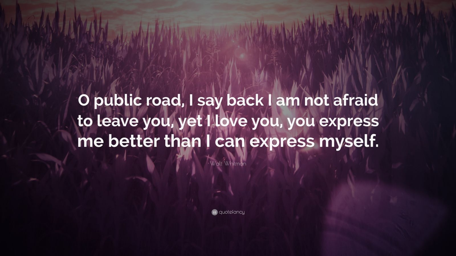 """Walt Whitman Quote: """"O public road, I say back I am not afraid to leave you, yet I love you, you express me better than I can express myself."""""""