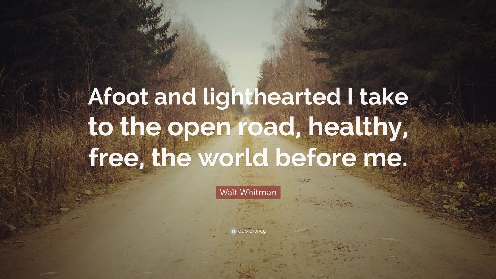 """Walt Whitman Quote: """"Afoot and lighthearted I take to the open road, healthy, free, the world before me."""""""