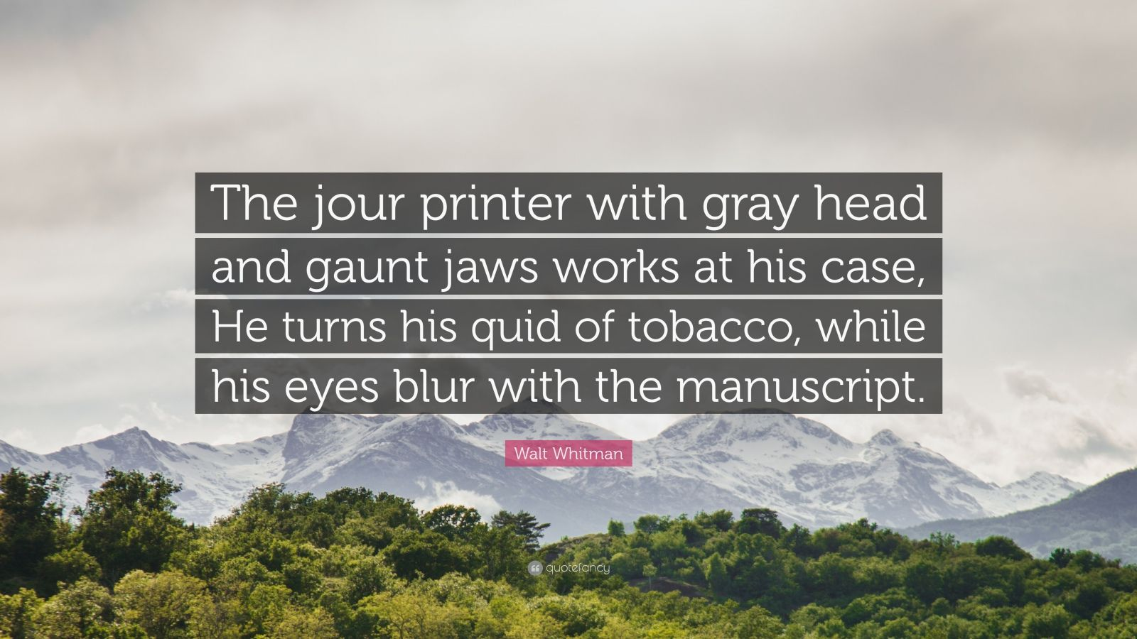 """Walt Whitman Quote: """"The jour printer with gray head and gaunt jaws works at his case, He turns his quid of tobacco, while his eyes blur with the manuscript."""""""