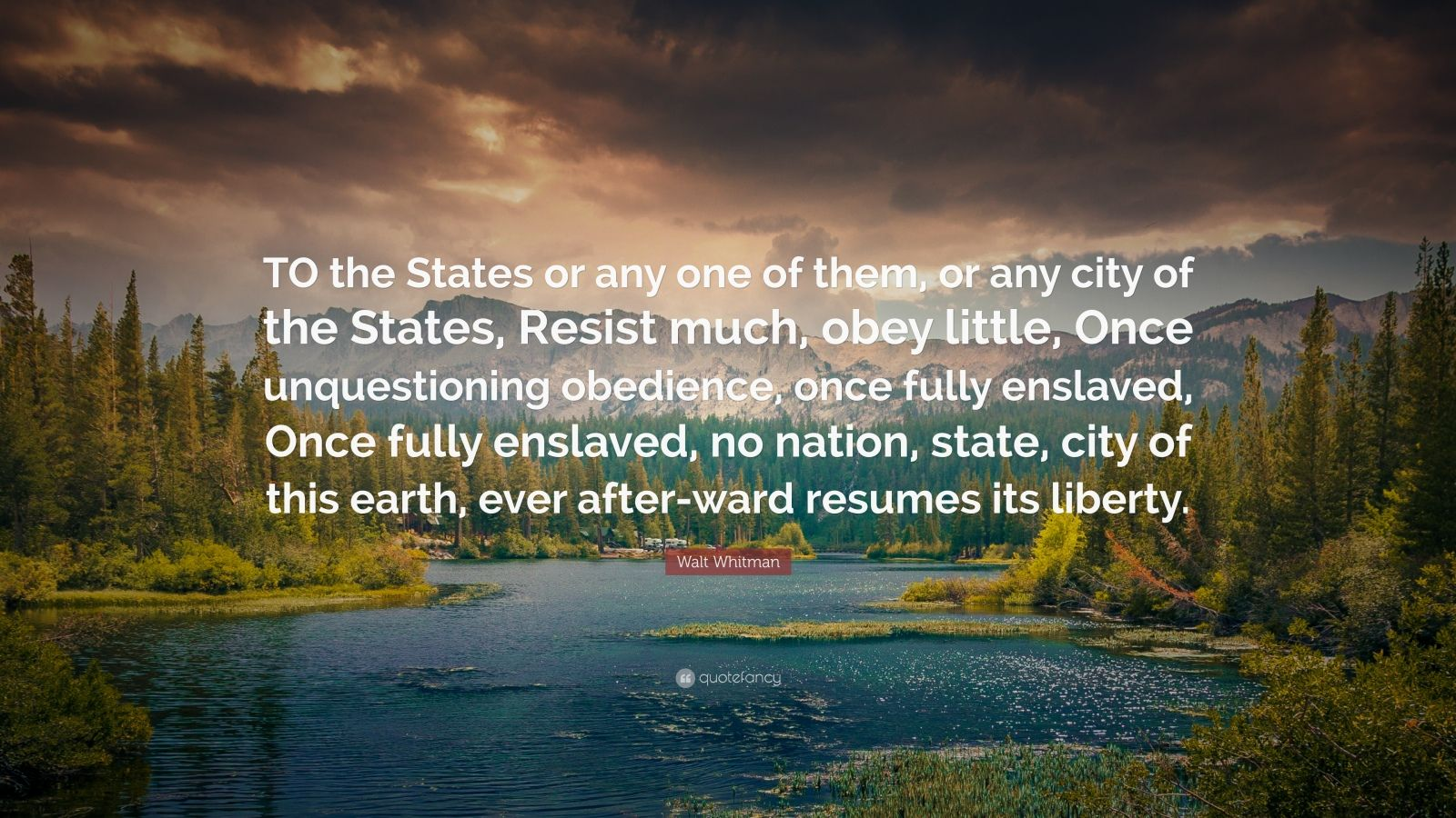"""Walt Whitman Quote: """"TO the States or any one of them, or any city of the States, Resist much, obey little, Once unquestioning obedience, once fully enslaved, Once fully enslaved, no nation, state, city of this earth, ever after-ward resumes its liberty."""""""