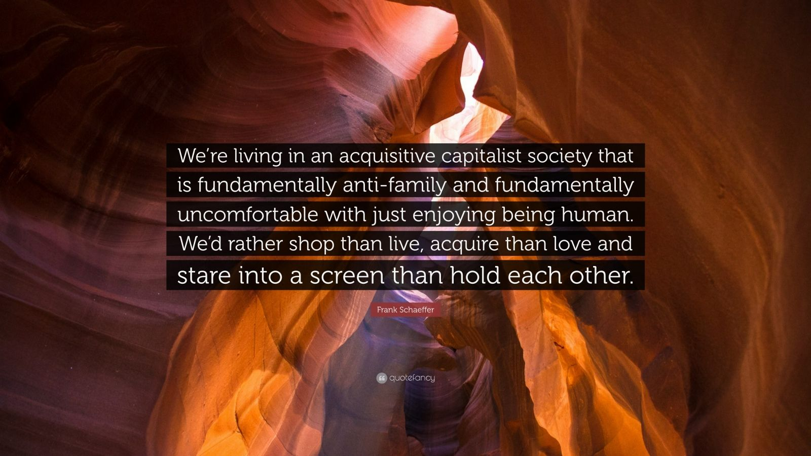 """Frank Schaeffer Quote: """"We're living in an acquisitive capitalist society that is fundamentally anti-family and fundamentally uncomfortable with just enjoying being human. We'd rather shop than live, acquire than love and stare into a screen than hold each other."""""""