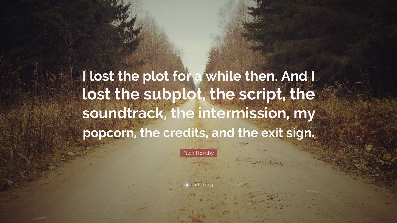 "Nick Hornby Quote: ""I lost the plot for a while then. And I lost the subplot, the script, the soundtrack, the intermission, my popcorn, the credits, and the exit sign."""