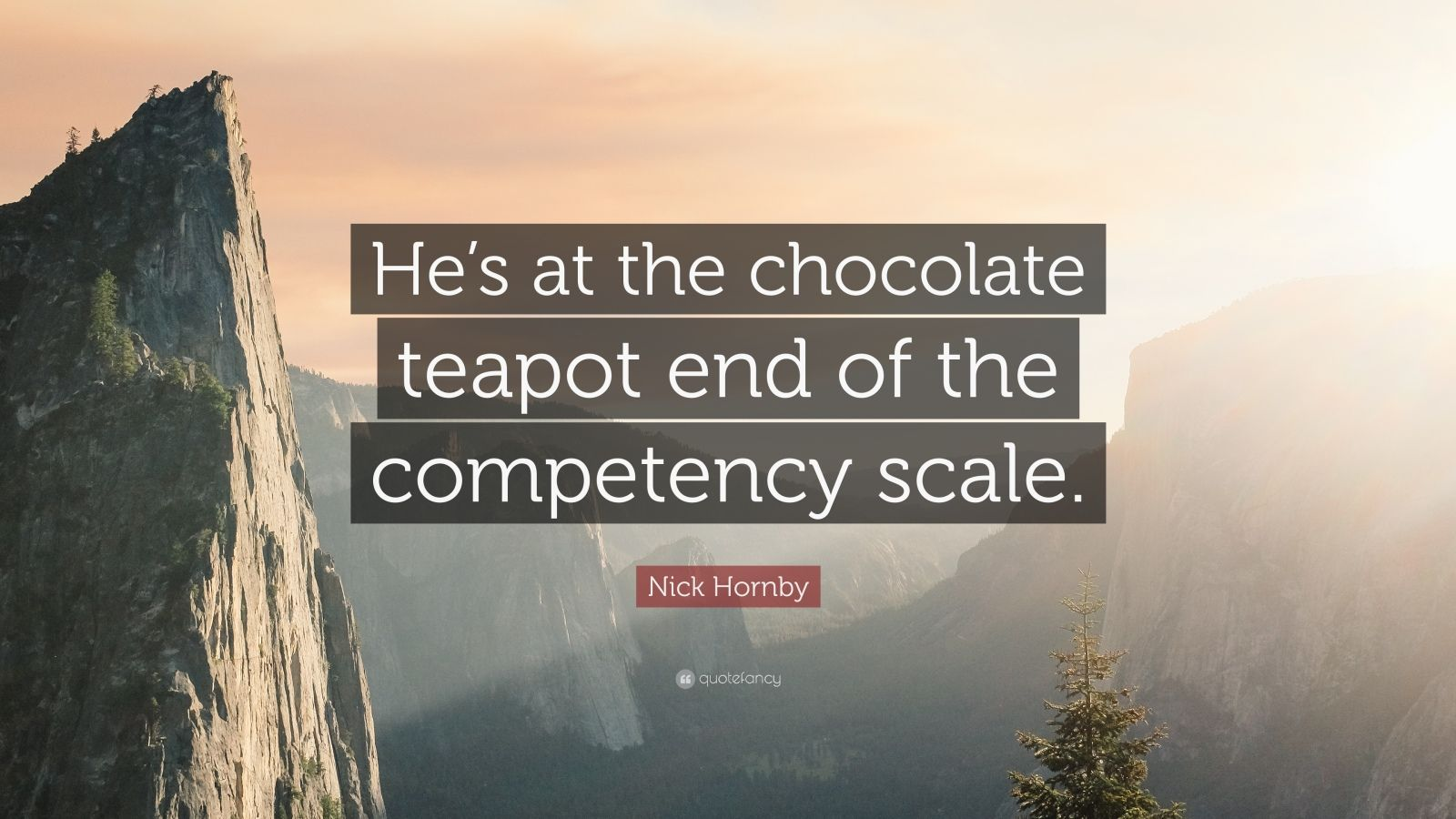 "Nick Hornby Quote: ""He's at the chocolate teapot end of the competency scale."""