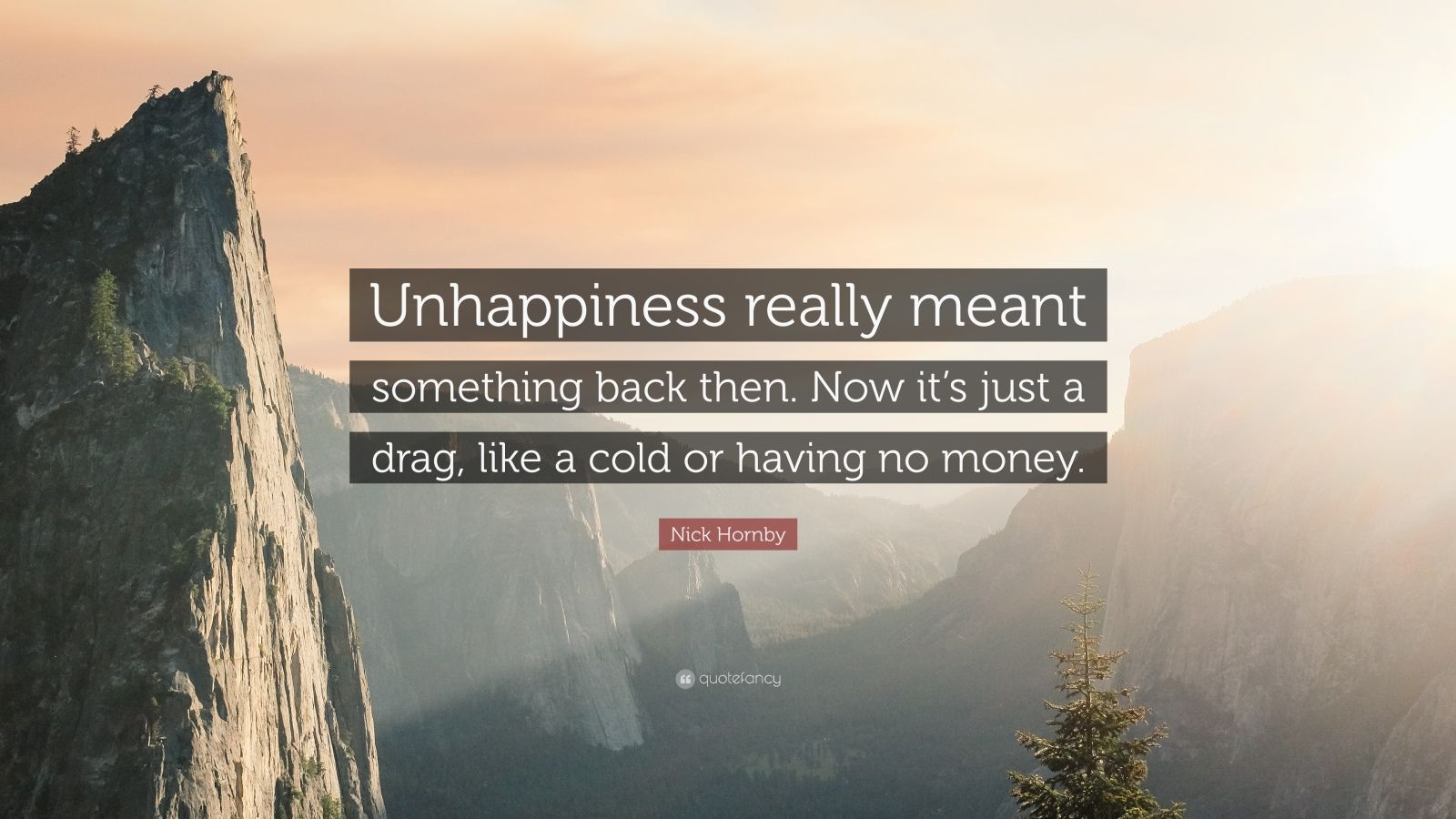 """Nick Hornby Quote: """"Unhappiness really meant something back then. Now it's just a drag, like a cold or having no money."""""""