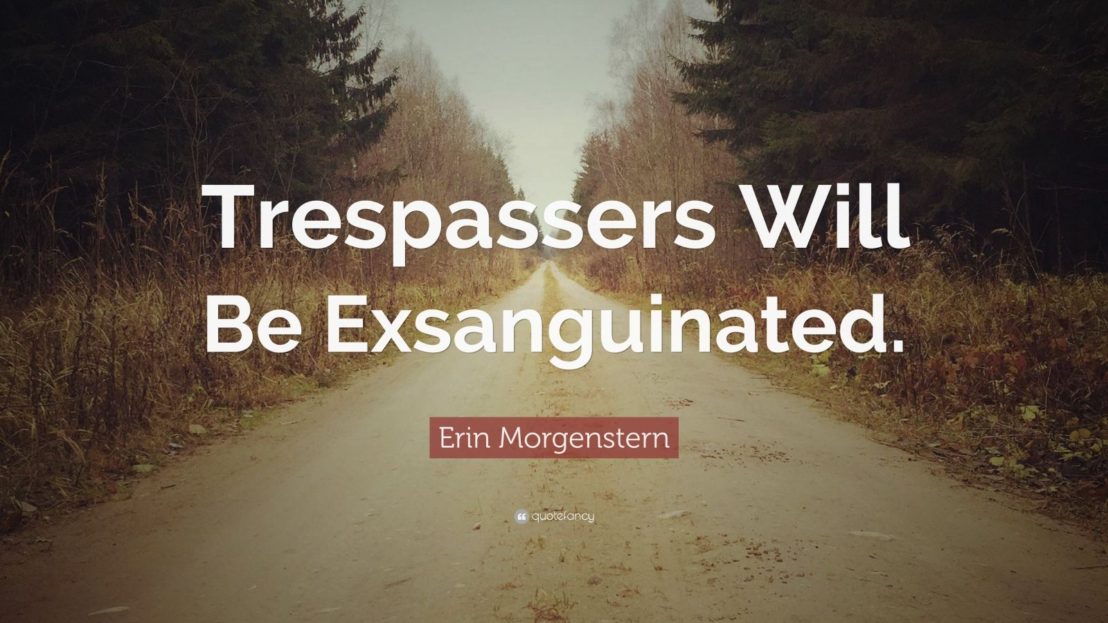"Erin Morgenstern Quote: ""Trespassers Will Be Exsanguinated."""