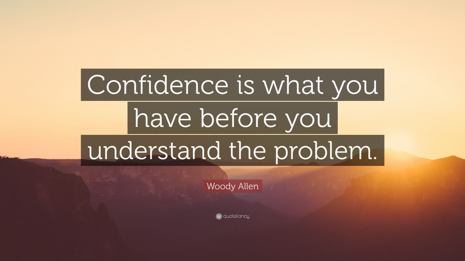 "Woody Allen Quote: ""Confidence is what you have before you understand the problem."""