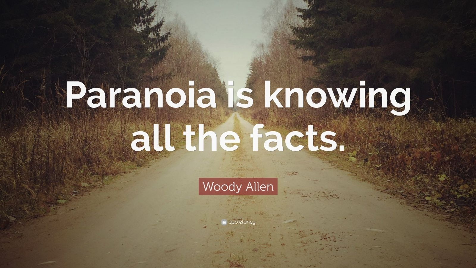 "Woody Allen Quote: ""Paranoia is knowing all the facts."""