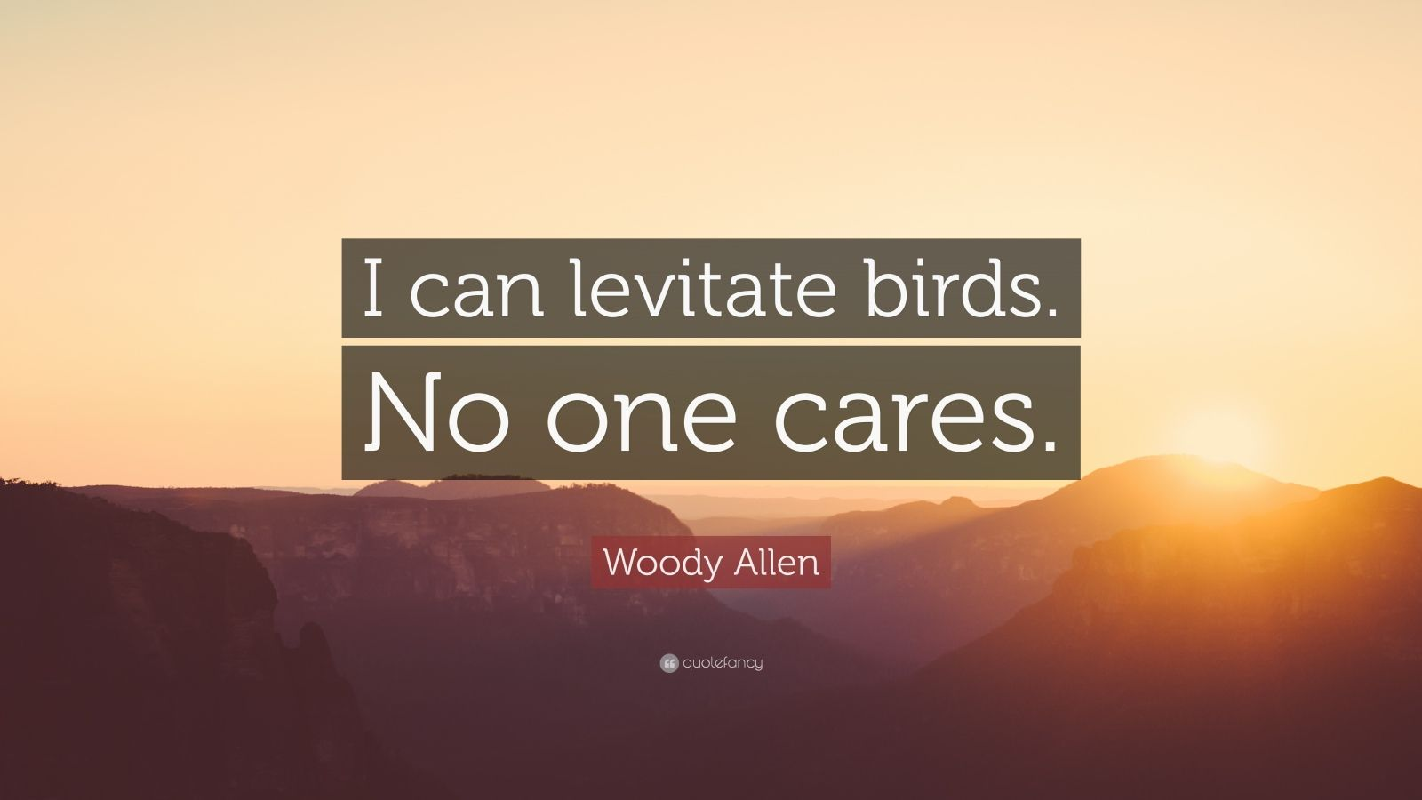 "Woody Allen Quote: ""I can levitate birds. No one cares."""