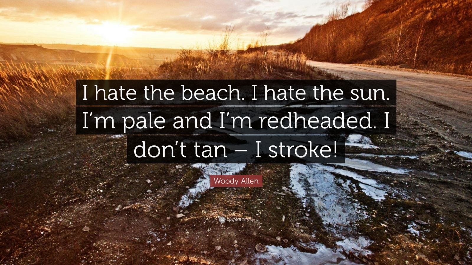 """Woody Allen Quote: """"I hate the beach. I hate the sun. I'm pale and I'm redheaded. I don't tan – I stroke!"""""""