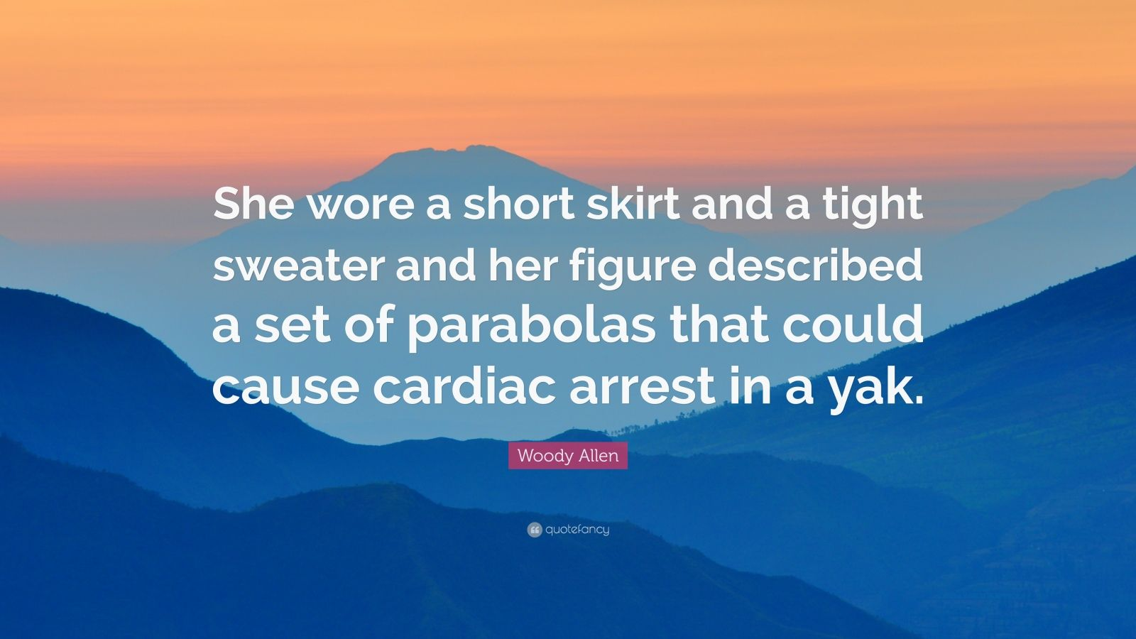 "Woody Allen Quote: ""She wore a short skirt and a tight sweater and her figure described a set of parabolas that could cause cardiac arrest in a yak."""