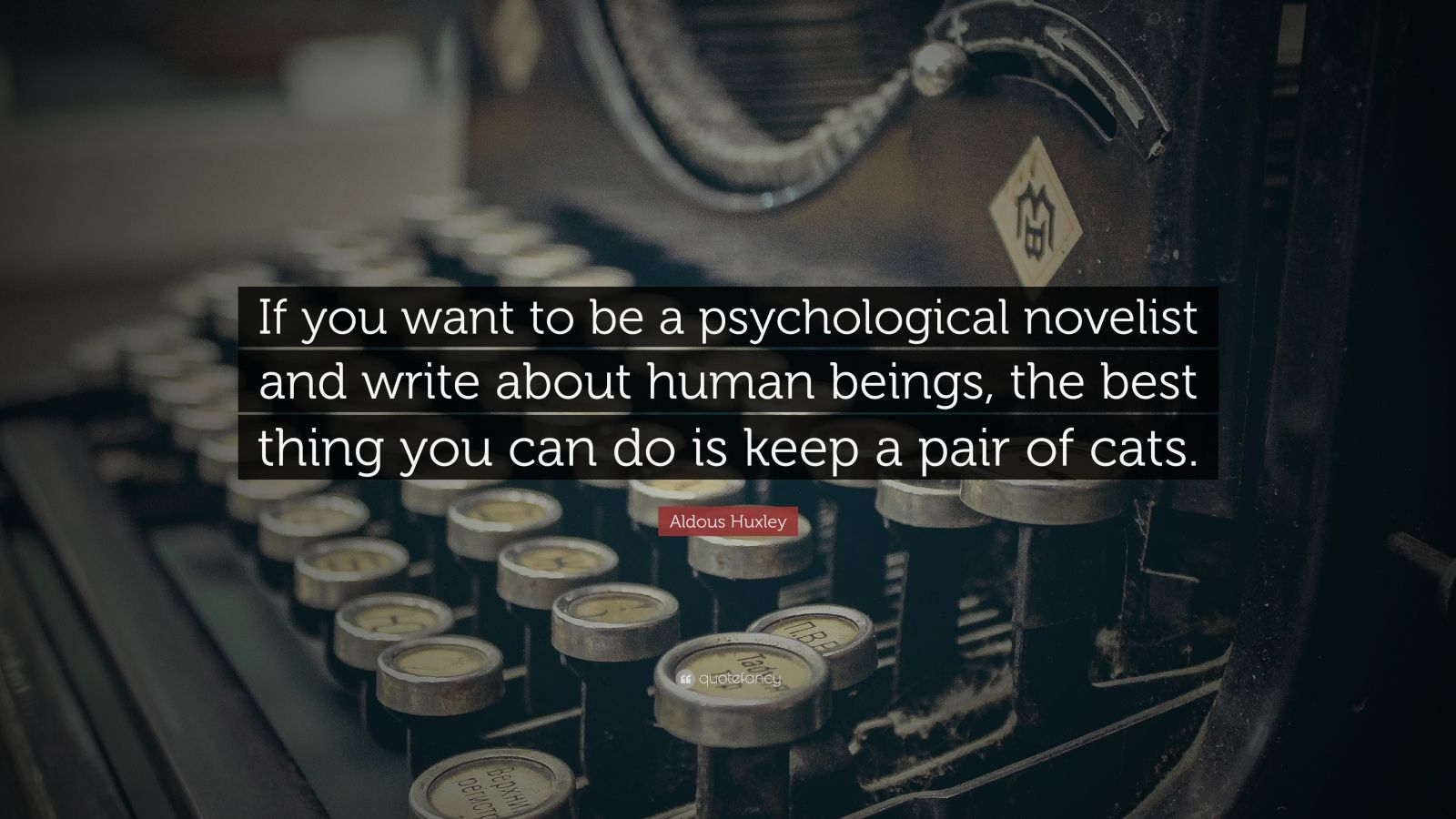 """Aldous Huxley Quote: """"If you want to be a psychological novelist and write about human beings, the best thing you can do is keep a pair of cats."""""""