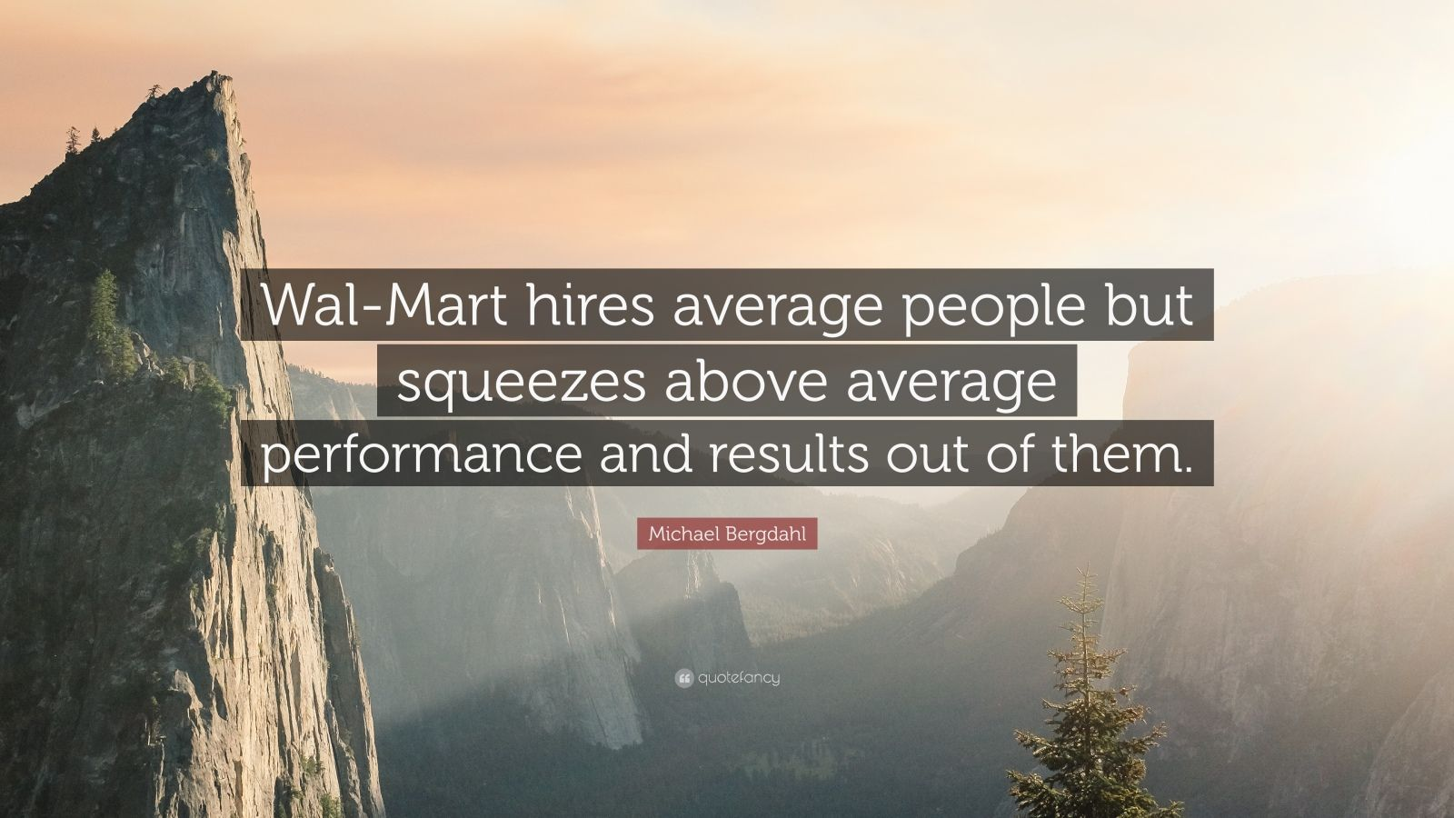 "Michael Bergdahl Quote: ""Wal-Mart hires average people but squeezes above average performance and results out of them."""