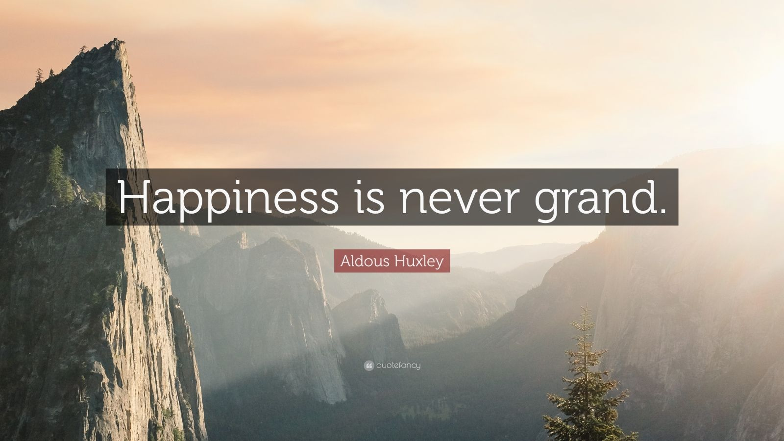 """Aldous Huxley Quote: """"Happiness is never grand."""""""