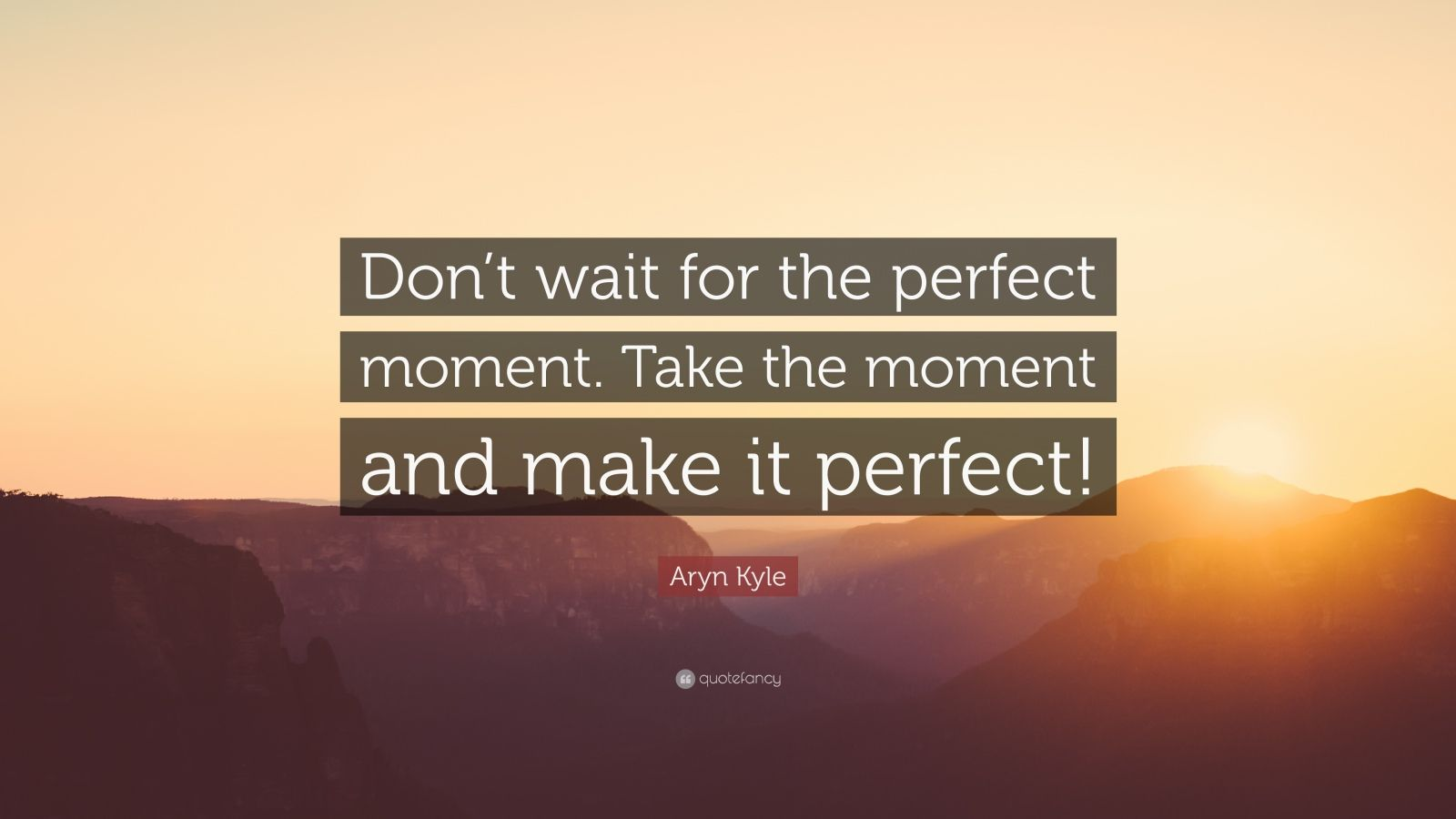 "Aryn Kyle Quote: ""Don't wait for the perfect moment. Take the moment and make it perfect!"""