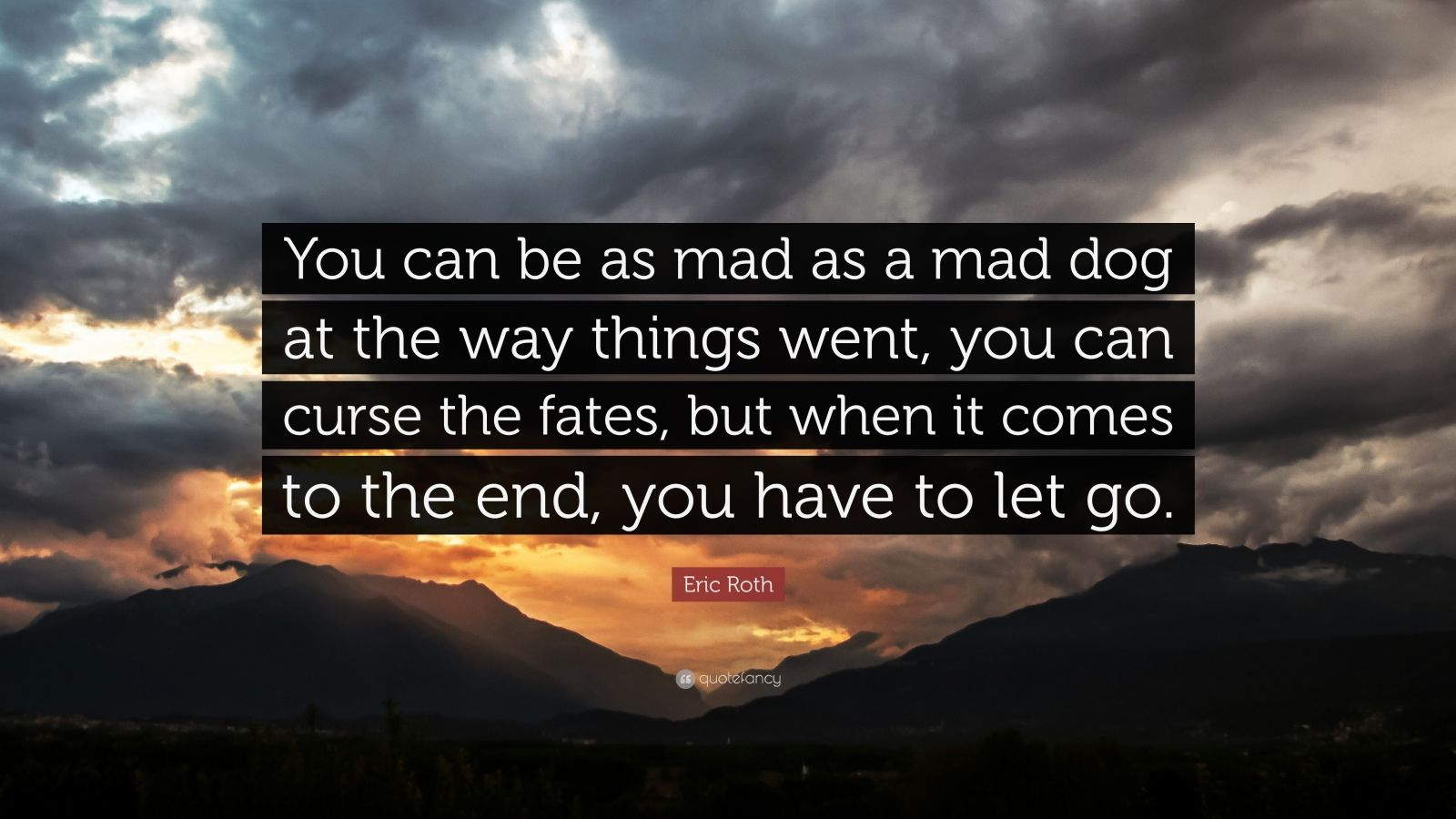 "Eric Roth Quote: ""You can be as mad as a mad dog at the way things went, you can curse the fates, but when it comes to the end, you have to let go."""