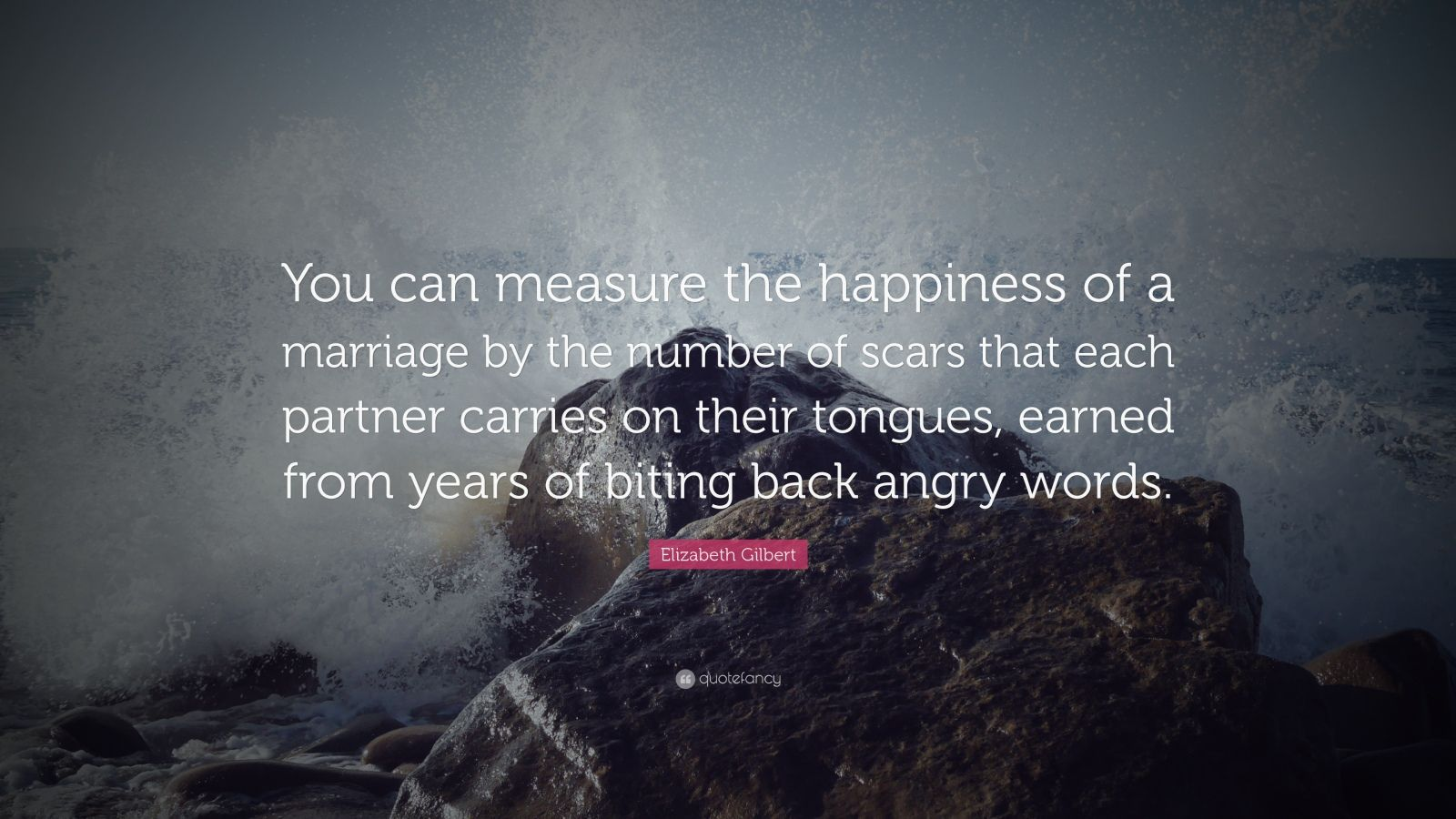 "Elizabeth Gilbert Quote: ""You can measure the happiness of a marriage by the number of scars that each partner carries on their tongues, earned from years of biting back angry words."""