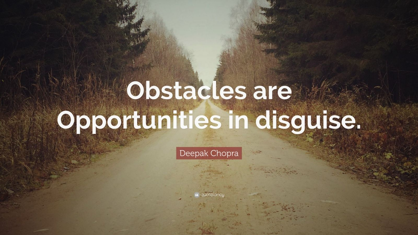 """Deepak Chopra Quote: """"Obstacles are Opportunities in disguise."""""""
