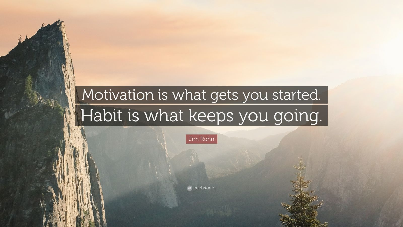 "Jim Rohn Quote: ""Motivation is what gets you started. Habit is what keeps you going."""
