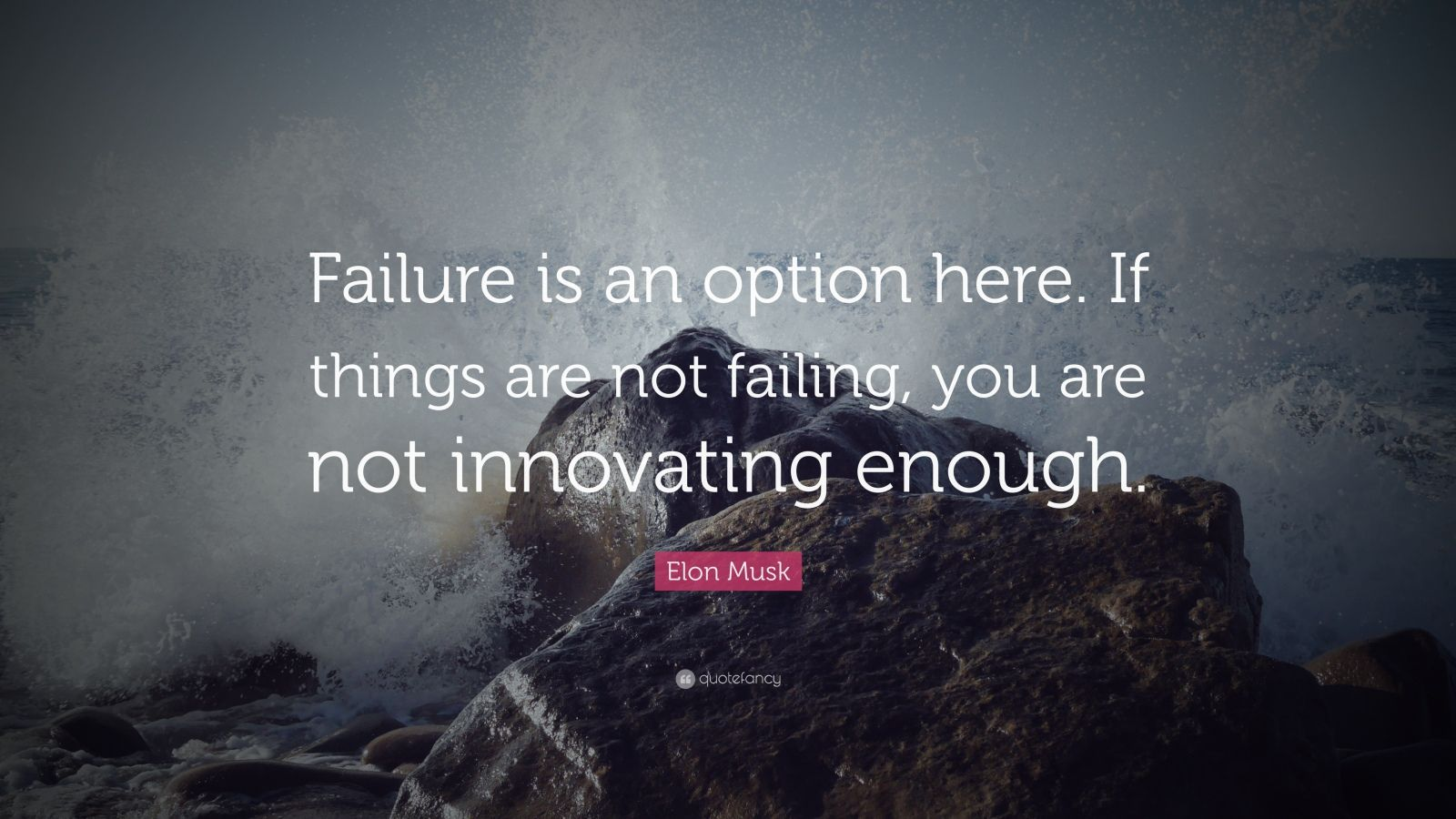 "Elon Musk Quote: ""Failure is an option here. If things are not failing, you are not innovating enough."""