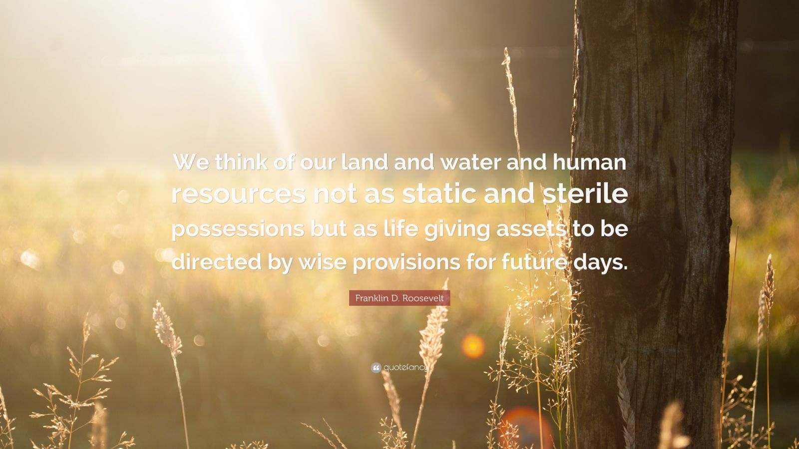 "Franklin D. Roosevelt Quote: ""We think of our land and water and human resources not as static and sterile possessions but as life giving assets to be directed by wise provisions for future days."""