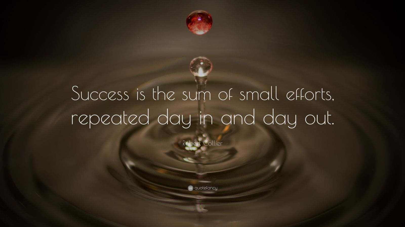 "Robert Collier Quote: ""Success is the sum of small efforts, repeated day in and day out."""