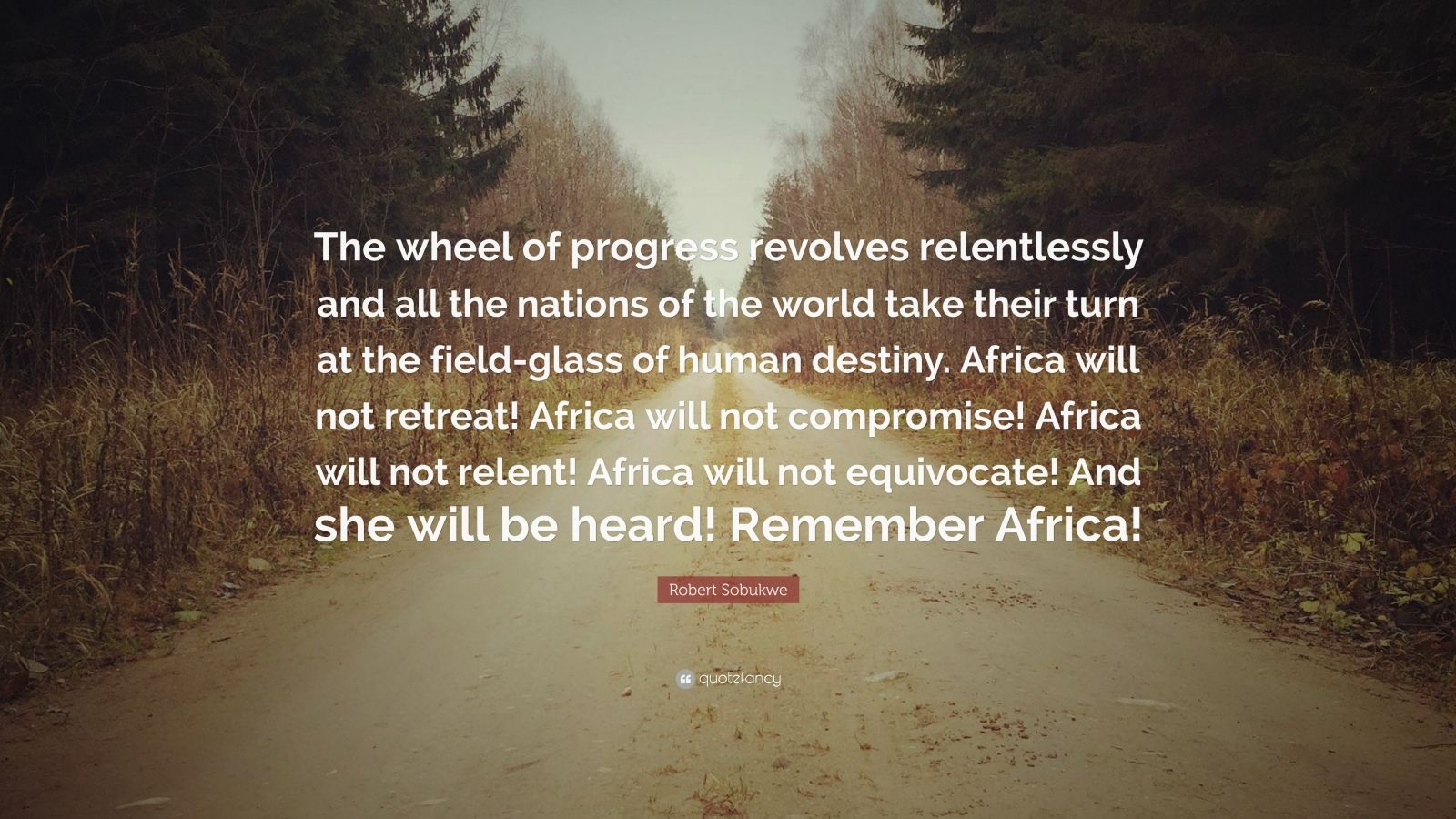 """Robert Sobukwe Quote: """"The wheel of progress revolves relentlessly and all the nations of the world take their turn at the field-glass of human destiny. Africa will not retreat! Africa will not compromise! Africa will not relent! Africa will not equivocate! And she will be heard! Remember Africa!"""""""